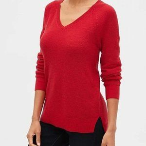 V-Neck Pullover Sweater Womens  Pink